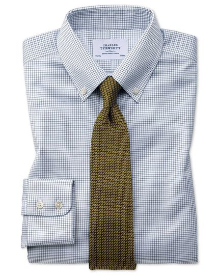 Extra slim fit button down non-iron twill grid check navy shirt