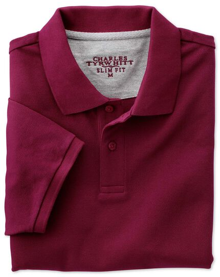 Slim fit wine pique polo
