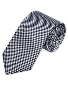 Black and white silk classic natte tie
