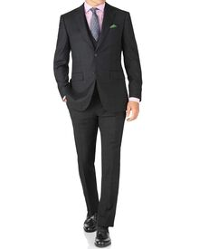 Charcoal slim fit sharkskin travel suit