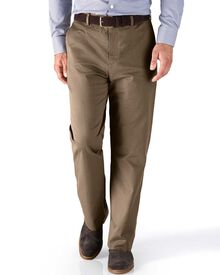 Tan classic fit stretch cavalry twill trousers