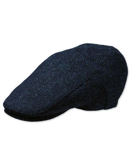 Tweed-Flatcap in marineblau