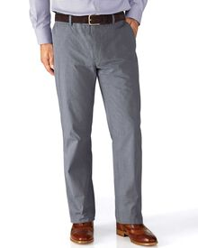 Blue classic fit Prince of Wales check stretch trousers