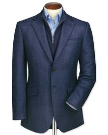 Classic fit blue birdseye lambswool jacket