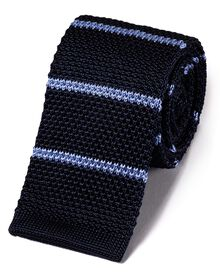 Navy blue and sky blue silk stripe slim knitted classic tie