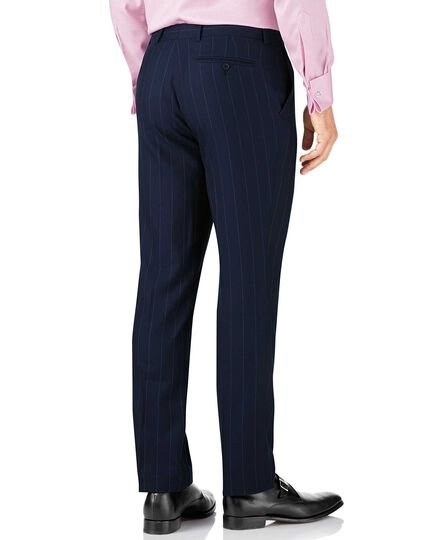 Navy stripe slim fit British serge luxury suit pants