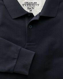 Slim fit navy pique long sleeve polo shirt
