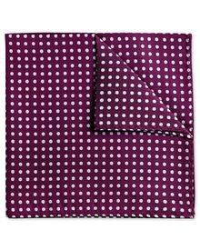 Magenta and white silk Oxford spot classic pocket square