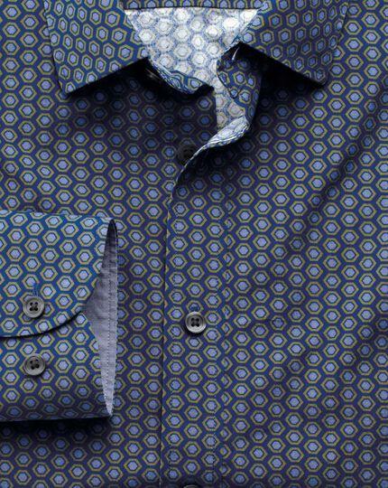 Classic fit blue and green hexagon print shirt