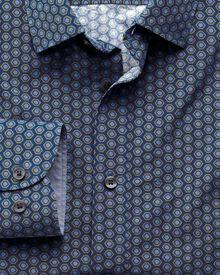 Extra slim fit blue and green hexagon print shirt
