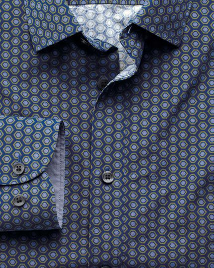 Extra slim fit blue and green hexagon print shirt