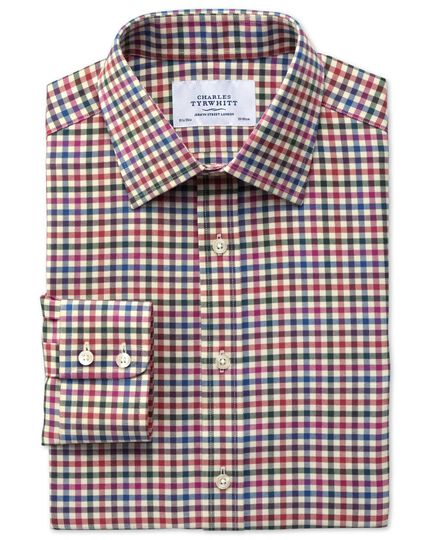 Slim fit country check orange and blue shirt