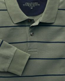 Green and navy stripe pique long sleeve polo