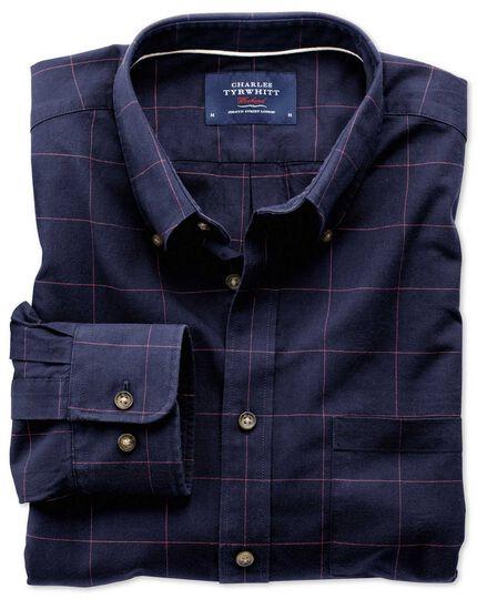 Classic Fit Hemd im Tweedlook in marineblau und rosa mit Karos