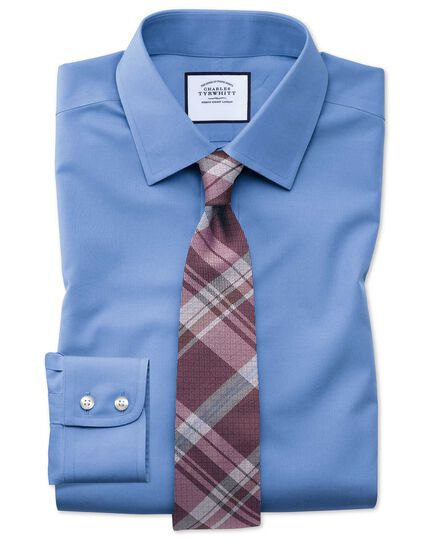 Classic fit non-iron poplin blue shirt