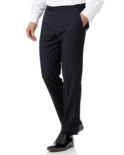 Navy slim fit tuxedo trousers