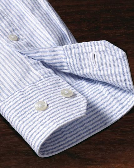 Classic fit collarless mid blue stripe shirt