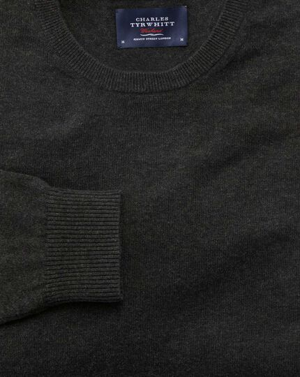 Charcoal cotton cashmere crew neck sweater
