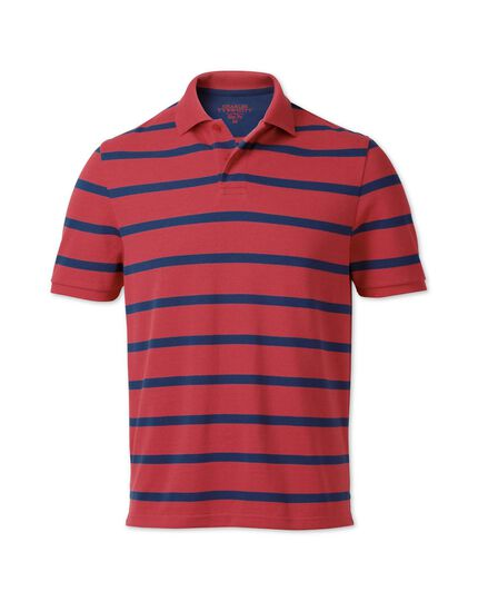 Slim fit salmon and navy striped pique polo