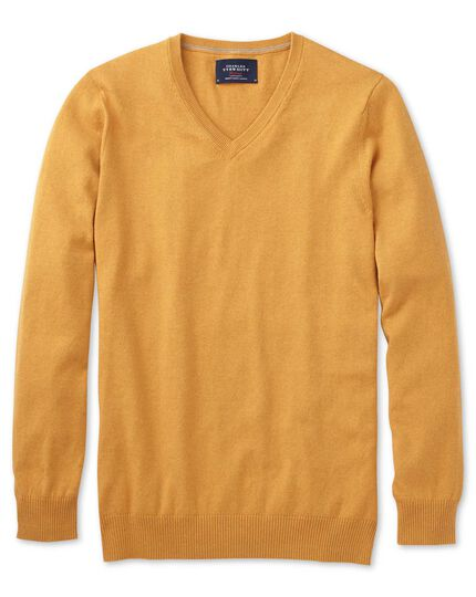 Yellow cotton cashmere v-neck sweater