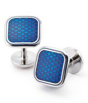 Blue basketweave enamel cuff links