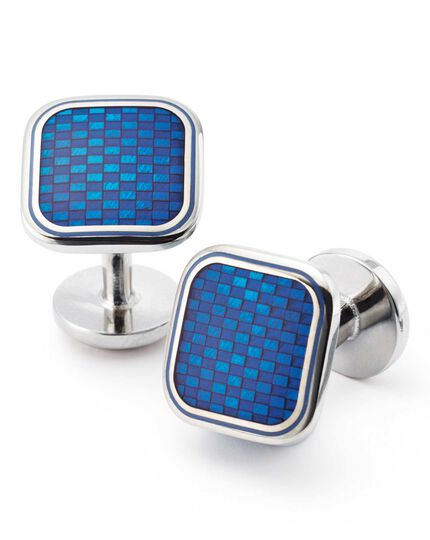 Blue basketweave enamel cuff links