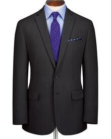 Charcoal slim fit crowsfoot business suit jacket