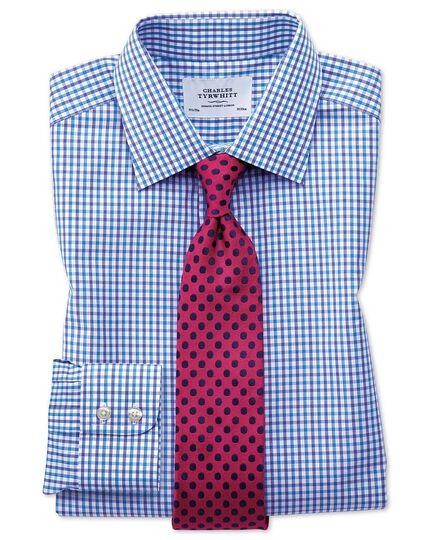 Chemise bleue à carreaux bicolores slim fit