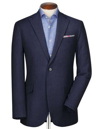 Classic fit black and blue stripe seersucker jacket