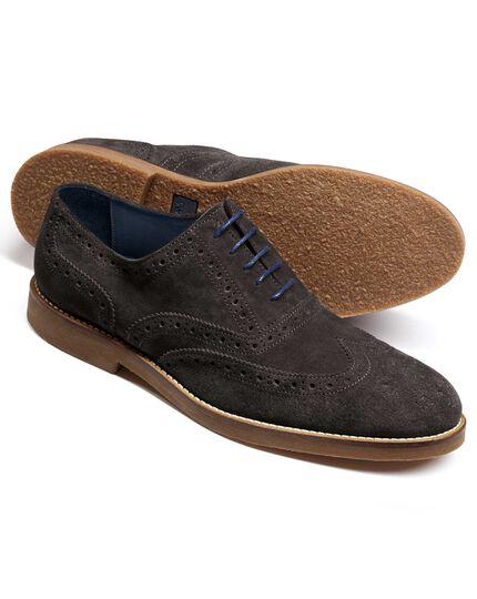 Grey Harrington wingtip brogue Oxford shoes
