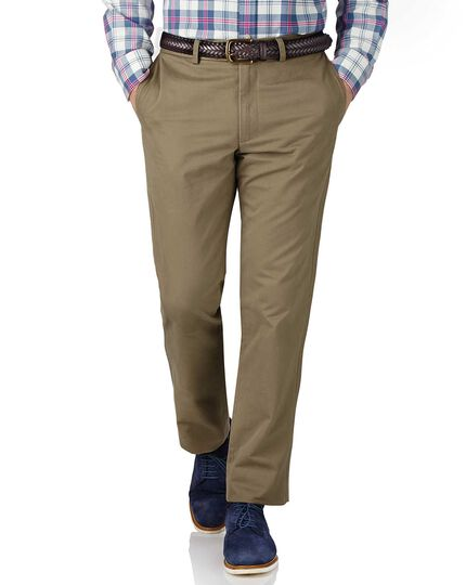 Beige slim fit flat front chinos