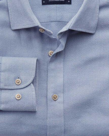Classic Fit Hemd aus Moulinézwirn in Mittelblau strukturiert