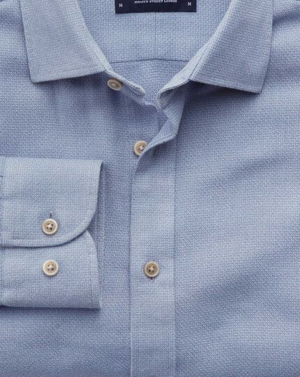 Slim fit mouline mid blue textured shirt