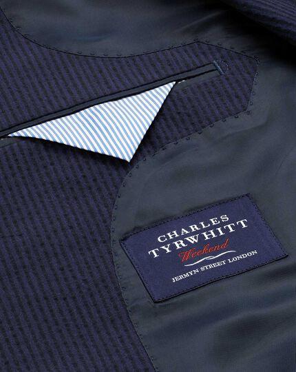 Slim fit black and blue stripe seersucker jacket