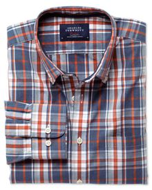 Slim fit washed blue and orange check shirt