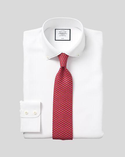 Slim fit button-down collar non-iron twill white shirt