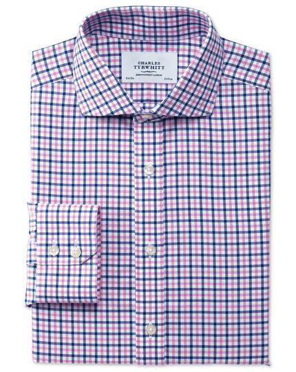 Slim fit cutaway collar non-iron royal Oxford check blue and pink shirt