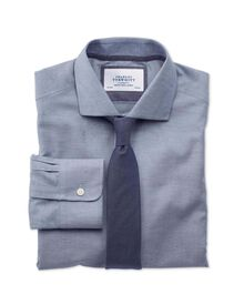 Extra slim fit semi-spread collar business casual herringbone fleck blue shirt