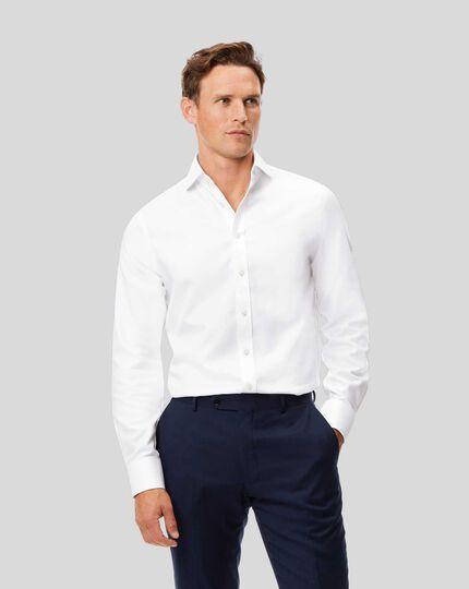Slim fit spread collar non-iron herringbone white shirt