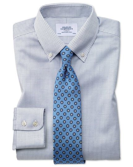Bügelfreies Slim Fit Twill-Hemd mit Button-down Kragen in Marineblau mit Gitterkaro