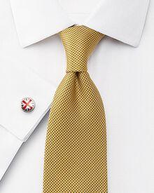 Slim fit non-iron mini herringbone white shirt