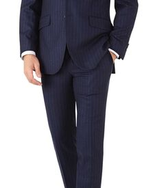 Navy stripe slim fit flannel business suit