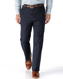 Navy classic fit stretch cavalry twill trousers