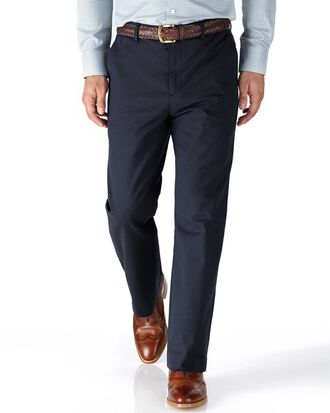 Navy classic fit stretch cavalry twill pants
