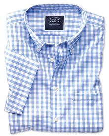 Classic fit non-iron poplin short sleeve sky blue check shirt