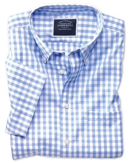 Slim fit non-iron poplin short sleeve sky blue gingham shirt