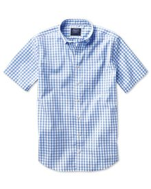Slim fit non-iron poplin short sleeve sky blue check shirt