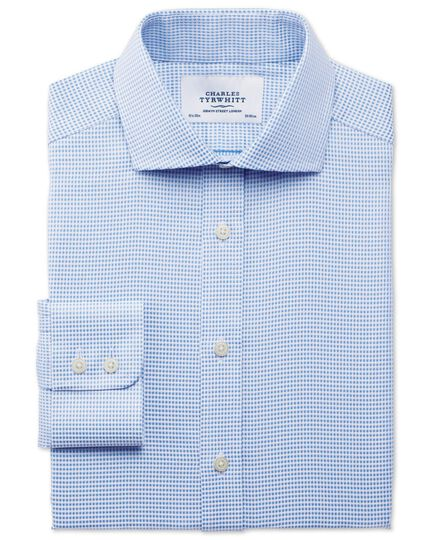 Classic fit spread collar star weave sky blue shirt