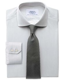 Slim fit spread collar non-iron mouline stripe grey shirt