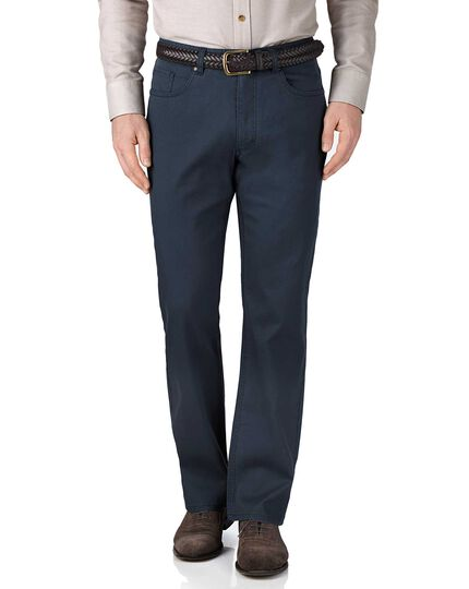 Blue classic fit stretch pique 5 pocket pants